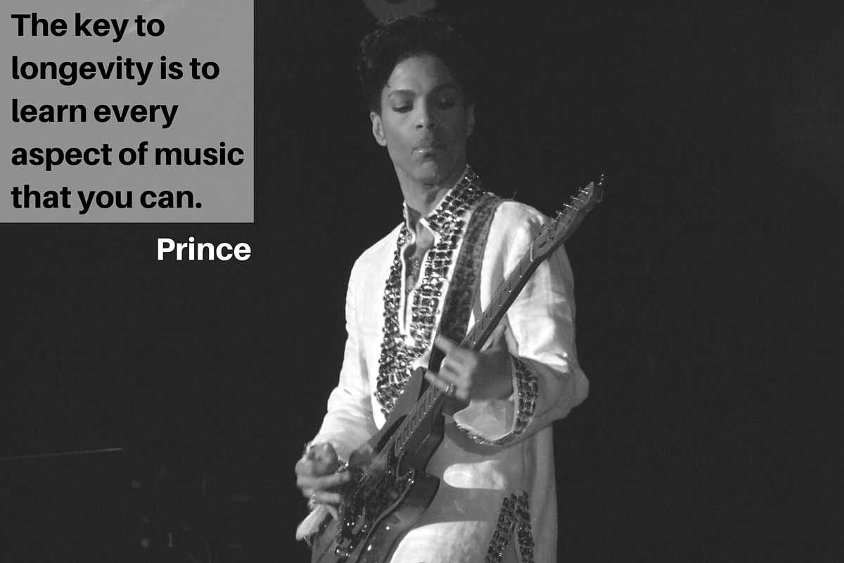 """The key to longevity is to learn every aspect of music that you can."" – Prince"