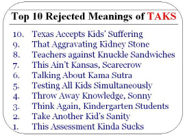 The Top 10 Rejected Meanings of TAKS